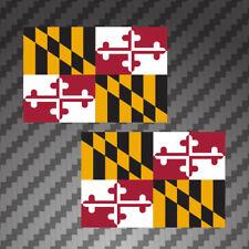 """2x Maryland Flag 4"""" Sticker vinyl Die Cut Decals graphic MD marylander"""