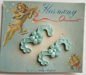 Vintage Hair Barrettes - Pair of Pale Blue Flower Barrettes Made in England