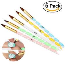 5PCS Acrylic Nail Art UV Gel Carving Pen Brush Kit For Liquid Powder 5 Sizes