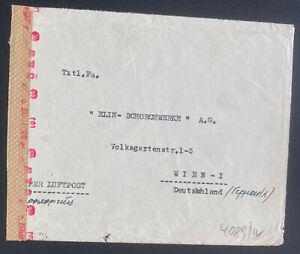 1940w Athens Greece Commercial Dual Censored Cover To Vienna Austria