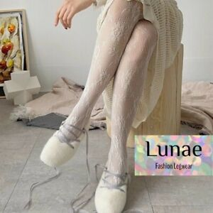 fishnet tights floral WHITE ROSE lace pattern mesh LUNAE