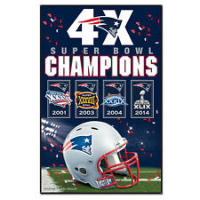 New England Patriots 4 time Super Bowl Champion  WinCraft Navy Wood Sign