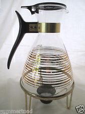 Pyrex Coffee Tea Carafe Warming Stand Lid Tea Light Candle Mid Century Modern