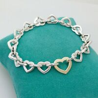 """8"""" Tiffany & Co Sterling Silver 18K Yellow Gold Heart Link Bracelet With Pouch"""