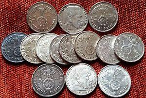 Nazi 2 & 5 Reichmark Silver Coins II WW Original III (Third) Reich Choose Yours