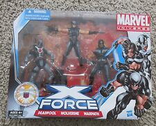 MARVEL UNIVERSE X-FORCE BOX SET X-MEN RARE NEW DEADPOOL WOLVERINE WARPATH  3.75""