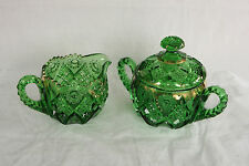 EAPG NORTHWOOD GLASS EMERALD GREEN GOLD DECORATED CREAMER & COVERED SUGAR BOWL