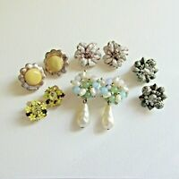 Vintage Clip on Earring Lot of 5 pairs Cluster - Wear Craft Art Project Collect