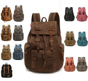 Men Travel Canvas Backpack Rucksack Camping Laptop Hiking School Military Bag