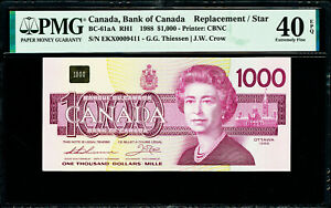 Canada 1000 Dollars 1988 REPLACEMENT Prefix-EKX BC-61aA Extra Fine PMG 40 EPQ