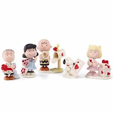 Lenox Peanuts Valentine's Day Figurines Party Charlie Brown Snoopy Lucy 5 Pc New
