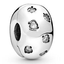 PANDORA Charm Clip Element 798345 CZ Leaves Silber Bead
