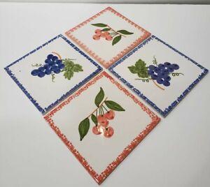 "VTG Hand Painted Portuguese Ceramic Decorative Tiles 6"" Lot of 4 Grapes/Cherries"