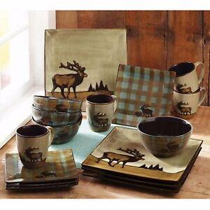 Elk Dinnerware Plates Mugs Bowls Rustic Cabin Ceramic Moose 16 Pc Dish Stoneware
