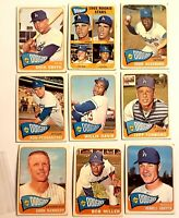 Lot of 9 1965 Los Angeles DODGERS vintage cards, 6 high numbers Willie Davis