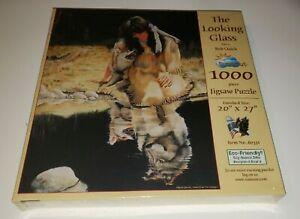 Puzzle SunsOut looking Glass Bob quick 1000 piece jigsaw Indian wolf Spirt