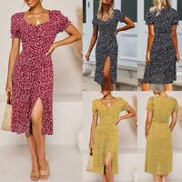Women's Summer Floral Slit Midi Dress Ladies Holiday Beach Short Sleeve Sundress