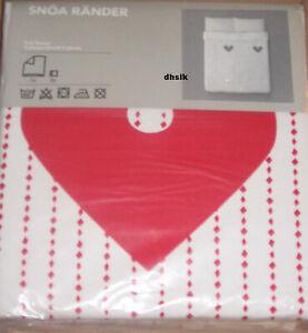 IKEA Snoa Rander Queen Full Duvet Cover Set Red White Xmas Hearts SNÖA Stripe