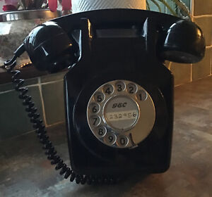 VINTAGE WALL MOUNTED GEC ROTARY DIAL TELEPHONE P&T101D MK711 TX4436 & BRACKET
