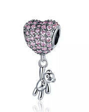 Pink Cz Heart Hanging Teddy Bear Pendant Charm Silver Plated 💗