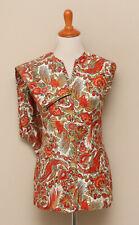 Vintage 1960-70s Womens Rust/Gold Floral Bird Reversible Vest and Pants Set