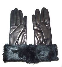 228.00 COACH Women's wool Lined Leather Gloves BLACK fur size 8 NWT NEW 83731