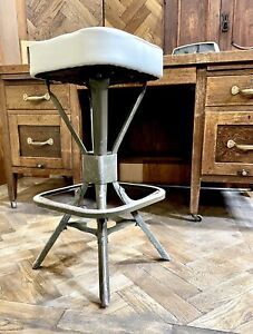 Vintage industrial Evertaut machinists stool. Unique white leather seat