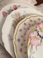 Vintage Set of 4 Mismatched China Luncheon Plates Wedding Mad Hatter Pinks   175