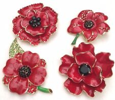 NEW LARGE RED GLOSSY CRYSTAL ENAMEL  POPPY PIN BROOCH REMEMBRANCE DAY GIFT