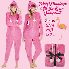 Womens 1Onesie Novelty Animal Hooded All In One PJs Snuggle Fleece Pink Flamingo