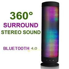 Portable Rechargeable Wireless Bluetooth 4.0 360° Stereo Sound LED NFC Speaker