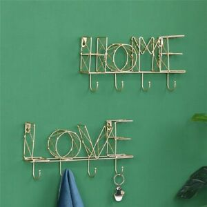 Nordic LOVE HOME Letter Storage Shelves With Hooks Wall Hanging Iron Rack Holder