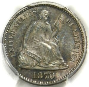 🗽🌈🥰❤️❤️😱PCGS MS64 1870 SEATED HALF DIME