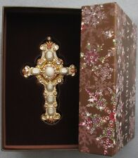 Jay Strongwater Nativity Golden Cross Ornament Swarovski Elements New In Box