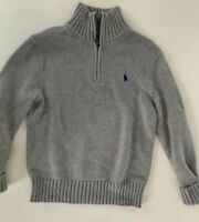 Polo Ralph Lauren Boys 1/2 Zip Long Sleeve Pullover Sweater Striped M 10-12 Gray