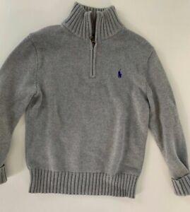 Polo Ralph Lauren Boys 1/2 Zip Long Sleeve Pullover Sweater Striped M 10-12 Gray