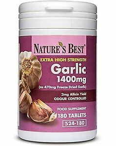 Garlic Tablets 1400mg High Strength & Rich in Allicin  - 180 Tablets - UK Made