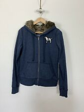VICTORIAS SECRET SEQUIN Faux FUR LINED HOODIE JACKET Small Bling