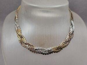 Vintage Silber Collier 925 Sterling Halskette Tricolor im Zopf Dekor Geflecht