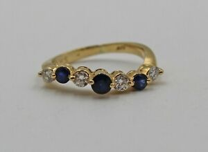 Vintage Sapphire Diamond 14K Yellow Gold Wave Stacking Band Size 3.75