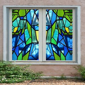 3D Blue Square I172 Window Film Print Sticker Cling Stained Glass UV Block Ang