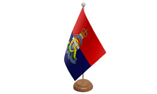 Royal Artillery Regiment Military Table Flag with Wooden Stand