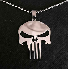 New  PUNISHER  KNIGHT Stainless Steel Leather Chain SKULL Pendant Necklace