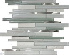Sample White Glass Stainless Steel Natural Stone Mosaic Tile Kitchen Backsplash
