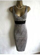 Gorgeous Coast Black Check Pencil Wiggle Dress UK 10 EU 38 US 6
