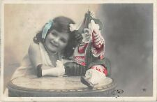 Pretty girl child with Marionette puppet doll real photo postcard Stebbing