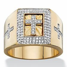 14K GOLD  CROSS PAVE CZ MENS GP RING SIZE 8 9 10 11 12 13