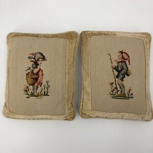 Pair Of 2 Vintage Needlepoint Velvet Pillows Boy Girl Rectangular 11X13