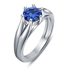 925 Sterling Silver Round Blue Sapphire Engagement Ring 14K White Gold Finish