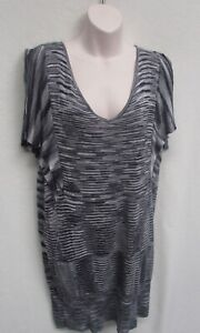 CITY CHIC size S Black striped Cap Sleeves Knit Cap sleeves Tunic Dress